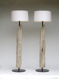 Pair of fluted column floor  lamps