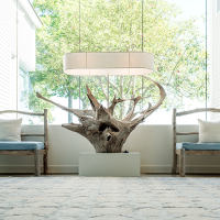 Linekin Floor lamp flanked by pair of custom garden benches